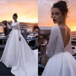 2695d12e082eb Simple Satin Wedding Dresses A Line Backless Sweep Train Long Sleeve  Wedding Gowns Jewel Neck Bridal Dress Plus Size Custom Made