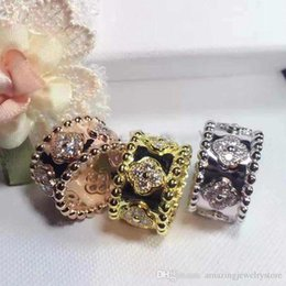 Flower Gift For Love Australia - New design Top quality brass material love punk ring with clover flower and diamond for women ring jewelry gift PS6412