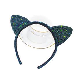 cat ear headband cosplay 2019 - KIDS Glitter Headband Cat Ears Hairwear Sticks Sequined Hair Band Cosplay Costume Hair Accessories Headband KKA4518 chea