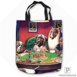 $enCountryForm.capitalKeyWord Australia - Custom Canvas DogsPlayingPoker Tote Shoulder Shopping Bag Casual Beach HandBag Daily Use Foldable Canvas #180713-08-5