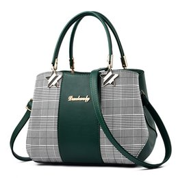 Patchwork Plaid Handbags Australia - Fashion Patchwork Plaid Bag Women Leather Handbags Large Capacity Shoulder Bags For Ladies 2018 Sac A Main Torebki Damskie