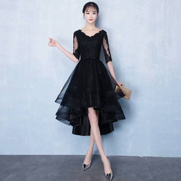 $enCountryForm.capitalKeyWord Australia - Black Lace Short Prom Dresses Vintage Style V-Neck Bow Sash Tulle Half Sleeve High Low Party Evening Dresses Special Occasion Gowns P313