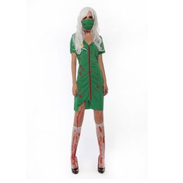 $enCountryForm.capitalKeyWord UK - Corpse party dress horror zombie costume cosplay green nurse costume lingerie zipper up cosplay dress w1877