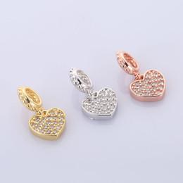 Wholesale Slides Pendants NZ - Wholesale Handmade DIY Jewelry Accessories Cute Copper Zirconia Rhinestone Flower Heart Slide Charms Pendants Beads Findings Pando Bracelets