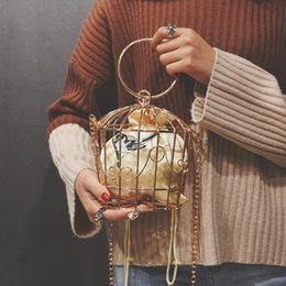 Wholesale Women s Birdcage Evening Bag Clutch Metal Frame Embroidery Bucket Mini Shoulder Bag Women Gold Tassel Handbag Female Bags Design