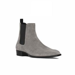 Italian Boots UK - Italian Man Handmade Pointed Toe Classical Chelsea Men Boots Kanye Slip On Banquet Genuine Leather Dress Slim Denim Boots