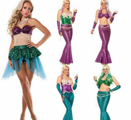 Costumes Parties Australia - Top Sexy Mermaid skirt Costume Halloween elf princess Blingbling cosplay Gold Mermaid Sequined Girls shell bra Malidaike DS Party dresses