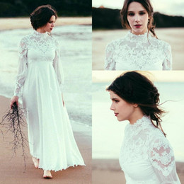 chiffon wedding dress ankle length Canada - Boho High Neck Long Sleeves Wedding Dresses 2018 Lace Chiffon Empire Waist Ankle Length Beach Wedding Gown