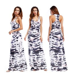 cd465d69d9 Summer Sleeveless Vest Dress Women Casual Beach Long Dress Fashion Tie Dye  Printed Slim Fit Ankle Length Maxi Long Dress N3-018