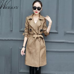$enCountryForm.capitalKeyWord Canada - 2018 new spring autumn fashion Casual women's khaki Trench Coat long Outerwear slim suede leather clothes for lady with belt