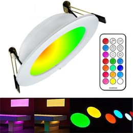 Discount timer panel - 2017 Newest RGBW LED Downlights Recessed Ceiling Panel Lights Dimmable 10W RGB +Warm Cold White AC 110-240V + Timer Remo