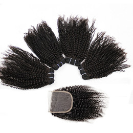 Natural humaN hair afro pieces online shopping - Kisshair Afro Kinky Curly Human Hair Bundles with Lace Closure Natural Color Brazilian Peruvian Indian Virgin Remy Human Hair Bundles