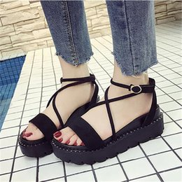 hot cakes shoes flats Canada - Free shipping HOT SALES 2018 summer new Roman sandals female platform flat simple casual Korean sponge cake non-slip wild student shoes