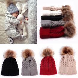 Knit Beanies For Baby Boys Canada - 2018 New Fur Hat For Kids Children Baby Boys Girls Winter Ball Knit Faux Raccoon Fur Pom Bobble Beanie Hat Winter Ski Cap