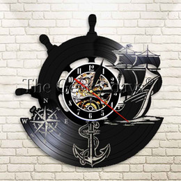 Discount antique ship anchors 1Piece Anchor Ship Naval Compass Personalized Wall Clock Sailors Wall Art Music Record Clock Gift for Travelers