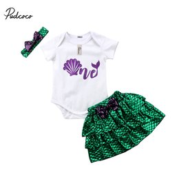 2018 New Toddler Baby Girls Mermaid Summer Romper+Shinny Layered Skirt Casual Outfits 3Pcs Set