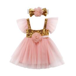 927d42f5db Baby Girls Sequin Dress NZ - Girl Sequins Dresses Headband Wedding Tutu  Dresses Midi Tiered Clothing