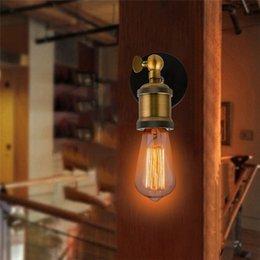 rustic wall light fixtures 2018 - AC90-260V E27 LED Vintage Wall Sconce Light Metal Home Wall Decor Simple Single Swing Wall Lamp Retro Rustic Light Fixtu