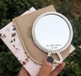Vintage makeup holder online shopping - LADUREE Les Merveilleuses miroir de poche hand mirror vintage metal holder pocket cosmetics Makeup mirror with carry bag retail package