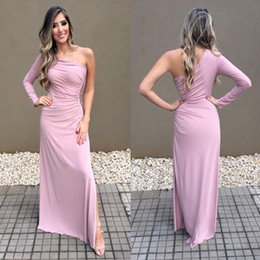 $enCountryForm.capitalKeyWord Australia - Pretty Light Purple Split Evening Dresses Simple Mermaid Elegant One Shoulder Vestidos de fiesta Prom Gowns Cheap