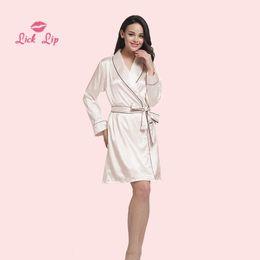 $enCountryForm.capitalKeyWord NZ - Lick Lip Satin Short Night Bath Robe Long Sleeve Bathrobe Sexy Silk Dress Soft Comfortable Ladies Kimono Nightwear SWC3002-47