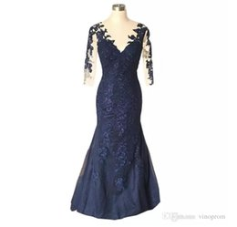 Cheap Strapless Trumpet Wedding Dresses UK - 2019 summer Cheap Long Dresses For Real Photo Dark Navy Wedding Guests Mother Of The Bride Dresses Plus Size Mother's Dresses