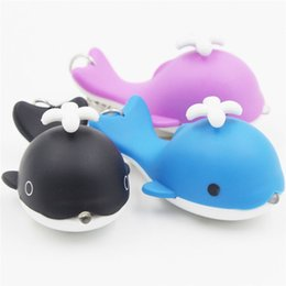flashing keyrings UK - Novelty Flashlight Sound Light Key Chain Car Auto Keyring Cute Whale LED Keychains Emergency Flash Light Q0594