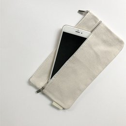 phone holder square UK - 21.5*12.5cm Blank Zipper Canvas Coin Purse Cosmetic Storage Bag Card Holders Small Change Phone Key Pouch ZA6071