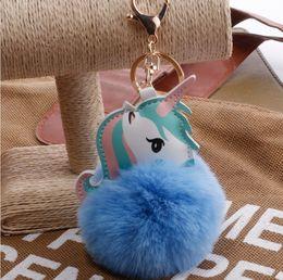 Artificial Chains Wholesalers Australia - Hot Fluffy Unicorn Pony Keychain Pendant Cute Pompom Artificial Rabbit Fur Key Chain Bag Car Key Ring Hang Bag Jewelry