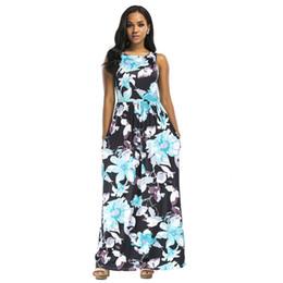 1d4ce6f877 Women Summer Long Maxi Dress Floral Print Sleeveless African Dashiki Dress  Boho Beach Dress 2018 Evening Party Sundress Vestidos