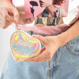 Wallet Red Heart NZ - Coofit Hologram Wallet Heart Shape Fashion Holographic Women Zipper Wallets Laser Hologram Small Mini Wallet Holder Zip Coin