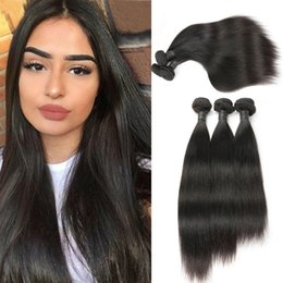malaysian straight hair 24 inches 2019 - 10A Grade 3 pcs Raw Indian Virgin Hair Straight Human Hair Weave Bundles Unprocessed Hair Extensions Nature Black Color