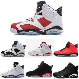 check out 468d7 8ce52 Acquista Nike Air Jordan Aj6 Carminio Scarpe Da Basket Classic 6s UNC Nero  Blu Bianco Infrarosso Low Chrome Donne Uomo Sport Blu Rosso Oreo Alternato  Oreo ...