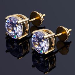 Vintage copper earrings dangle online shopping - Hiphop Stud earring for women men Luxury boho silver Zircon Stitching round Dangle earrings gold plated Vintage geometric Jewelry
