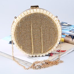 clutches for evenings Canada - Round evening bag set with diamond banquet bag tassel hand bag diamond The clutch FOR BOTH LADY AND BRIDAL WEDDING DRESS WEAR