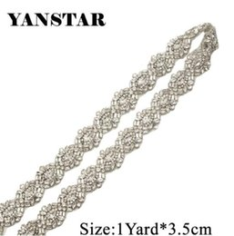 YANSTAR 1 Yard Rhinestones Appliques Wedding Dresses Belts Sew On Bridal  Sashes trim Clear Silver Rhinestones YS949 81975e239e02