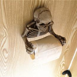 Paper Roll Holders Australia - Skull Toilet Paper Towel Roll Holder Wall Mount Bone Dry Skeleton Bathroom Decor small tissue boxes ceramic