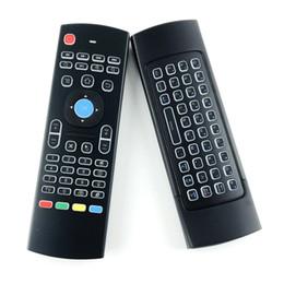 Großhandel X8 Mini-Tastatur der Hintergrundbeleuchtung MX3 mit IR, der drahtlose Fernbedienung 6Axis der Qwerty-2.4G Luft-Maus mit Hintergrundbeleuchtung Gampad für android Fernsehkasten i8 lernt