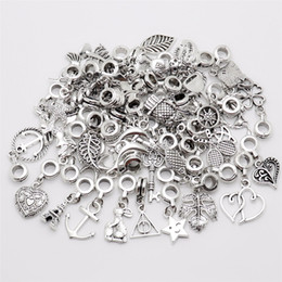Опт Mix 50pcs/lot Vintage Big Hole Loose  European Pendant fit  charm bracelet DIY Metal jewelry making