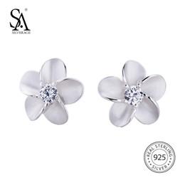 d411bda93 SA SILVERAGE 925 Sterling Silver Stud Earrings Trendy AAA Zirconia Earring  Fashion Jewelry For Women Flower Earring Female S18101206
