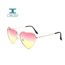 Discount designer heart shaped sunglasses - 2018 Heart Shaped Sunglasses Women Pink Frame Metal Reflective Mirror Lens Fashion Luxury Sun Glasses Brand Designer For