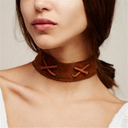 Trendy Sell Belt Choker Necklace Vintage Design Elegant Wide Ribbon Leather  Neck Jewelry Faux Suede Leather Choker Collar O-341 453a362cd006