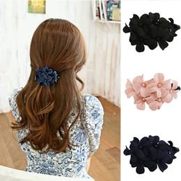 Girl flower handmade hair clip online shopping - Women Fashion Hair Hairpins Accessorie Chic Women Girl Handmade Flower Banana Barrette Hair Clip Hair Pin Claw