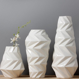 ceramic art pots 2019 - white ceramic creative contracted flower vase pot home decor craft room decoration handicraft garden porcelain figurine