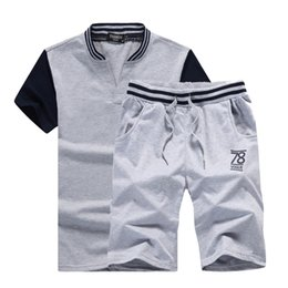 China Mens Fitness Tracksuits Set Summer Men Shorts Sets Short-Sleeved Letter Print Shirt +Shorts Casual Outwear Men Sweat Suits supplier v neck sweat shirts suppliers
