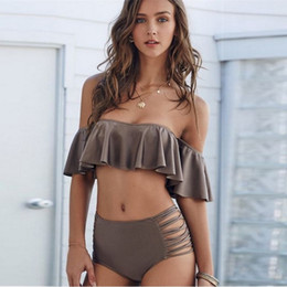 Swimwear deSignS for women online shopping - Lotus Leaf Edge Design Two Piece Suits Pure Color Swimwear For Women Off Shoulder Divided Body Bikini Sexy Lady Swimsuit hf W