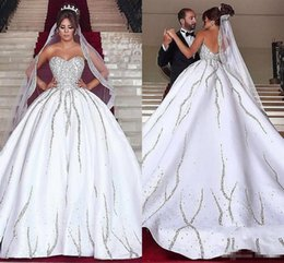 $enCountryForm.capitalKeyWord Australia - Luxury Bling Dubai Arabic Plus Size Wedding Dresses Beads Sequins Sweetheart Backless Sweep Train Country Wedding Dress With Matching Veils