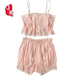 New Sexy Lace Cami With Shorts Pajama Set Women Pink White Spaghetti Strap  Sleeveless Nightwear Drawstring Waist Cute Sleepwear 51bef693b