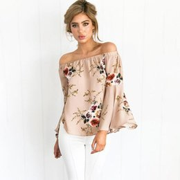 blouse flare sleeves Australia - Casual Slash Neck Loose Blouse Summer Shirt Women Sexy Long Flare Sleeve Fashion Floral Print Blouses Blusas Off Shoulder Top