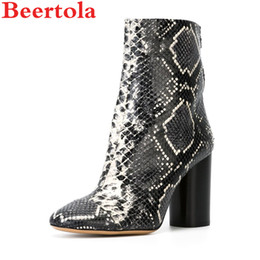 cd322d81591f Beertola Shoes Women Snakeskin Ankle Boots Cylinder Chunky Heels Shoes Short  Plush Zippers Rome Women s Casual Size 34-46